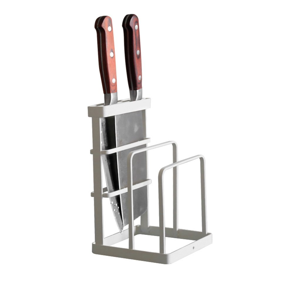 VANRA Metal Steel Cutting Board Holder Knife Block Kitchen Organizer Pantry Bakeware Rack Pan Pot Cover Lid Rack Stand (White)