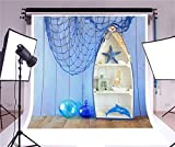 LFEEY 8x8ft Nautical Photography Background Baby Shower Kids Birthday Party Backdrop Banner Wallpaper Starfish Sailboat Dolphin Shell Blue Fishing Net Girls Boys Portrait Photoshoot Studio Props