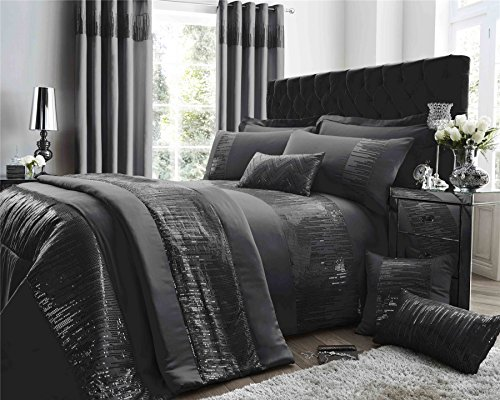 BANDED STITCHED SEQUINS FAUX SILK PEWTER GREY USA FULL (200CM X 200CM - UK DOUBLE) DUVET COMFORTER COVER (Antoinette Duvet Cover)