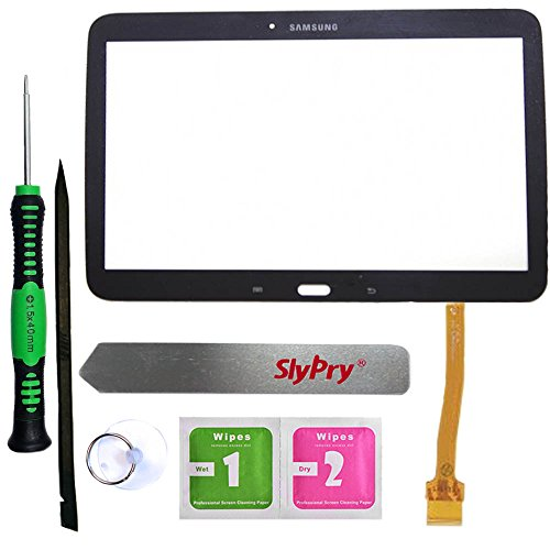 Prokit Adhesive® Samsung Galaxy Tab 3 10.1 P5200 P5210 Black Touch Screen Digitizer Panel Glass Replacement Part + PreInstalled Adhesive with SlyPry® tools kit (Touch Screen For Tab 3)