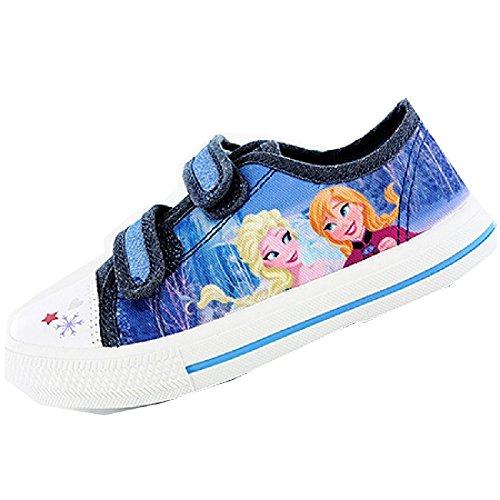 Frozen Die Eiskönigin Anna Elsa Sneaker Schuhe Halbschuh Canvas Blau Klettverschluss 24-30