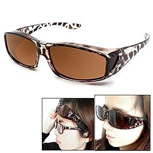 Fit Over Glasses Sunglasses Polarized Lenses Men Women/Wear Over Prescription Glasses Outdoor sports sunglasses UV400 (leopard print)