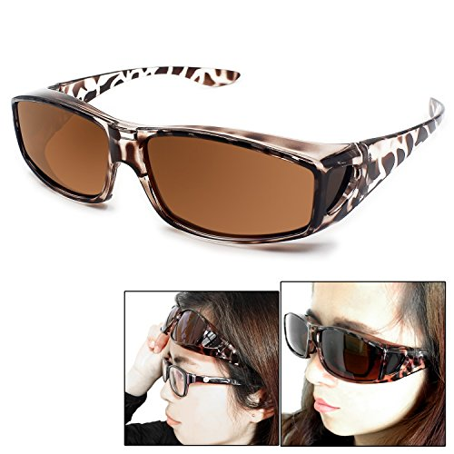Fit Over Glasses Sunglasses Polarized Lenses Men Women/Wear Over Prescription Glasses Outdoor sports sunglasses UV400 (leopard - How To Fit Sunglasses