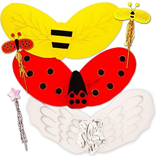 Ladybug Wing Set (Fairy Wings for Girls (Set of 3 - Angel, Ladybug, Bumble Bee Wings) …)