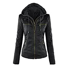Foonee Womens PU Jacket Leather Hoodie Solid Slim Zipper Coat Jacket