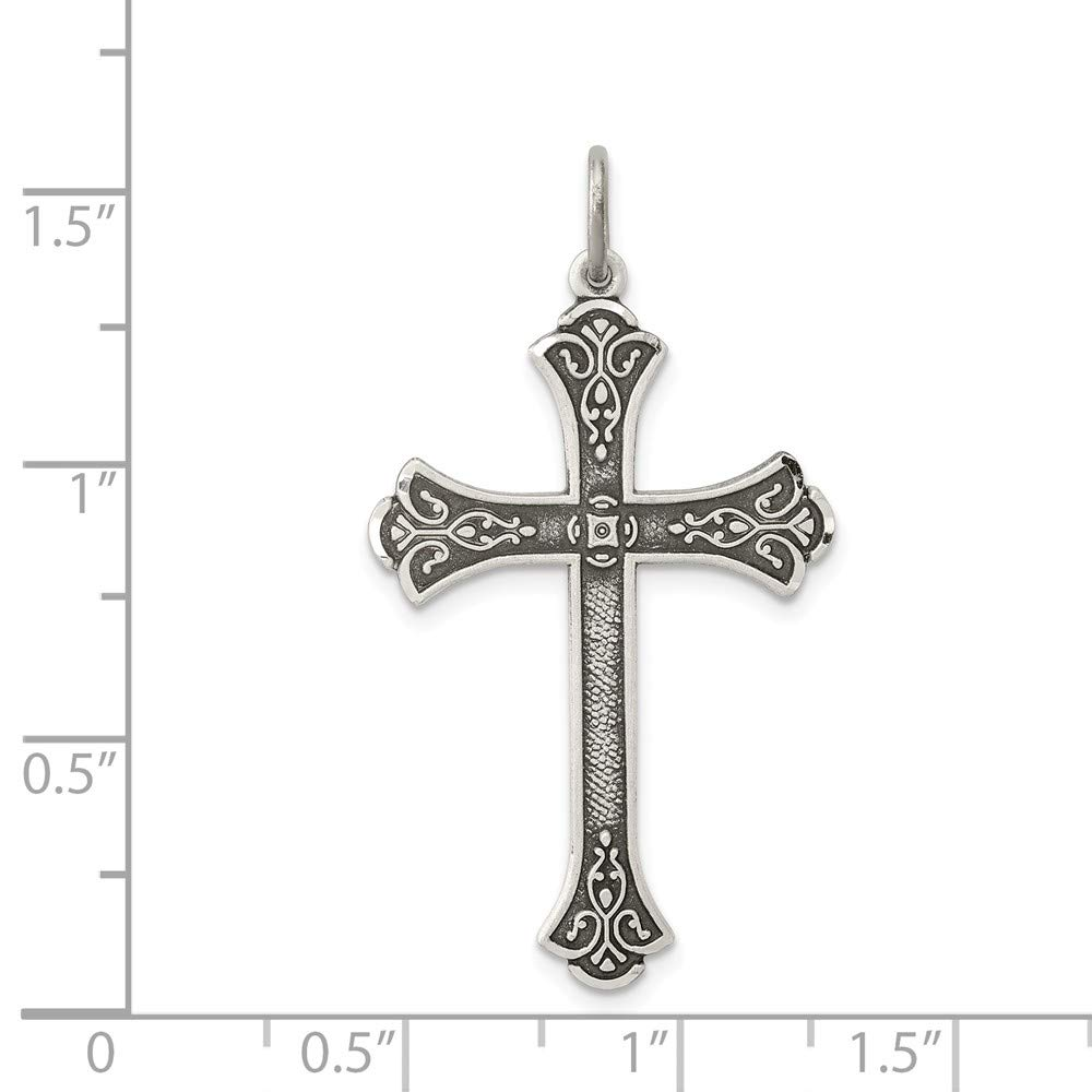 Mia Diamonds 925 Sterling Silver Solid Antiqued Cross Pendant 35mm x 22mm