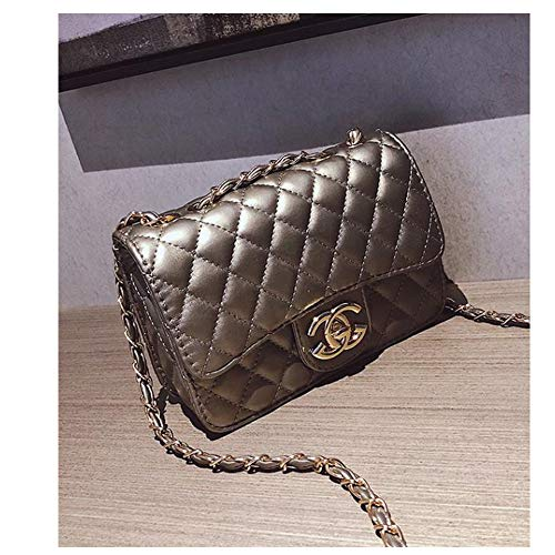 Small Crossbody Purse Lingge Leboy Ladies Handbags Chain Flap Leather Shoulder Bag ()