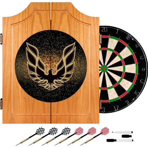 Trademark Poker Pontiac Firebird Black Wood Dart Cabinet Set by Trademark