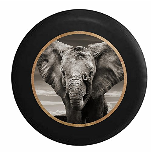 Full Color Grey Elephant Closeup - Gentle Giant Jeep RV Camper Spare Tire Cover Black 35 in