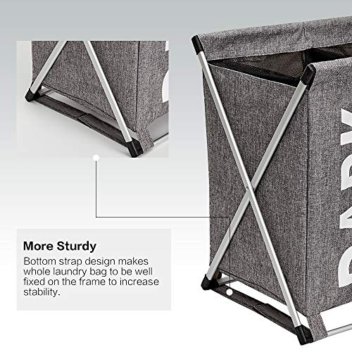 HOMEST Large 2 Section Laundry Hamper Sorter Basket with X-Frame 25.5''×23''H Washing Storage Dirty Clothes Bag for Bathroom Bedroom Home College Use, Grey by HOMEST (Image #4)