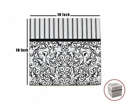 Ifavor123 Caja de cartón negro y blanco de 25 x 25 cm para boda, cumpleaños, fiesta, regalo de dinero