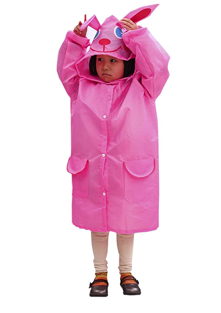 Toddler Kids Cute Cartoon Hooded Rain Jacket Raincoat Poncho Rainwear for Age 3-8 Fakeface