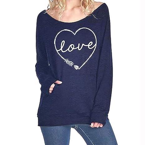 Luckycat Camisa de Manga Larga de Bolsillo de impresión de Love Casual de Mujer Casual Tops de botón: Amazon.es: Ropa y accesorios