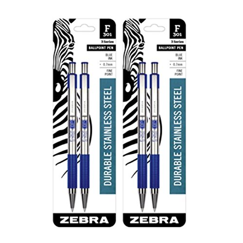 - Zebra's F-301 Stainless Steel Retractable Ballpoint Pen 0.7mm, 2-pack (27122)