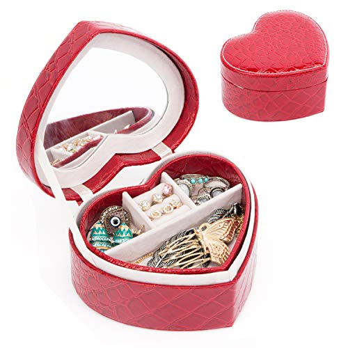 (Heart Shape Small Jewelry Box Organizer Two-Layer Leather Jewelry Display Case with Mirror (Red))