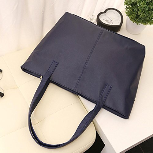 Solid Ladies Capacity Tote Purse Blue Leather Women Dark Bag Shoulder Large qgSnwnPExZ