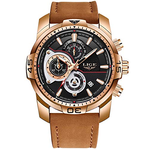 - LIGE Mens Watches Chronograph Waterproof Sports Analog Quartz Watch Gents Big Face Brown Leather Date Fashion Casual Wrist Watch Rose Gold Black