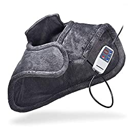 Therapeutic Far Infrared Neck and Shoulder Wrap Heating Pad w/Magnetic Clasp - Heat Therapy for Muscle Pain, Tension Relief, Aches, and Headaches - Instant Relief with deep Heat - Gray