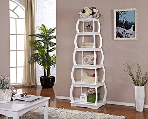Mixcept 22'' Wooden Multi-functional Display Shelf Bookshelf 5 Tier Bookcases Storage Rack Shelving Unit Collection Shelf, White