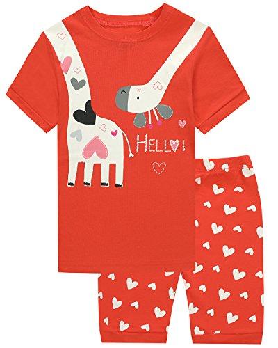 HYY Kids Girl Pajama Short Sets 100% Cotton Summer Sleepwear Giraffe size2T-12years(Giraffe 2T)