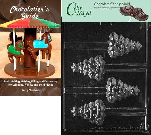 Cybrtrayd 'árbol de Navidad pretzel' dulces de chocolate de Navidad molde con Chocolatier 's Guide