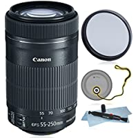Canon EF-S 55-250mm f/4-5.6 IS STM for Canon Digital SLR + AUD Essential Accessory Bundle