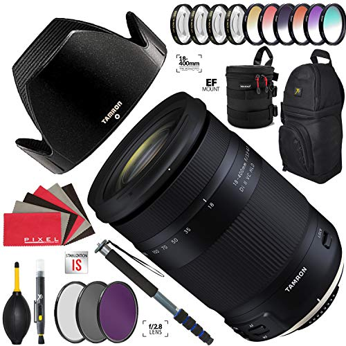 Tamron 18-400mm f/3.5-6.3 Di II VC HLD Lens for Canon EF with Heavy Duty Lens Case and Accessories