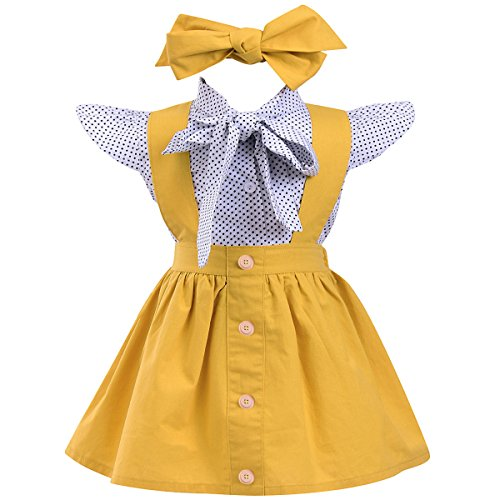 Annvivi Kids Baby Girl 3pcs Outfits Polka Dot Ruffles Sleeve Bowknot Shirt Top+Suspender Braces Skirt Overalls with Headband (White+ Yellow, 6-12 - Piece 10 Baby