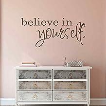 "BATTOO Believe in Yourself - Inspirational Wall Decals - Girls Room Wall Decals Quotes - Mirror Decals - Mirror Stickers(Dark Brown, 16""h x34""w)"