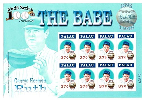 (Baseball Hall of Fame Legends - Babe Ruth - Rare Collectors Stamps - Palau)