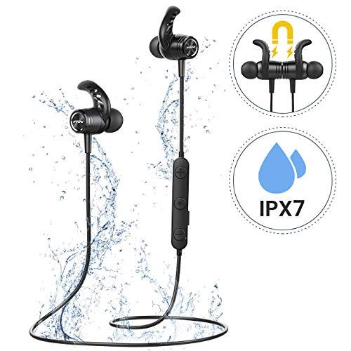 Mpow S10 Bluetooth Kopfhörer, IPX7 Wasserdicht Sport Kopfhörer mit Klaren Stereo-Sound, HD-Mikrofon/Leichte Bauweise/Ergonomisches Sport Design, Magnetisches Sportkopfhörer für Joggen/Laufen