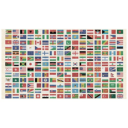 QT Fabrics Wanderlust Flags of The World 24in Panel Multi