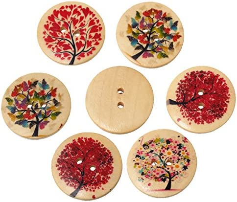HOUSWEETY ミックス 丸型 ウッドボタン 可愛い 生命の樹模様 木製ぼたん 縫製 手芸材料 手作り アクセサリーパーツ 30mm 20個入り