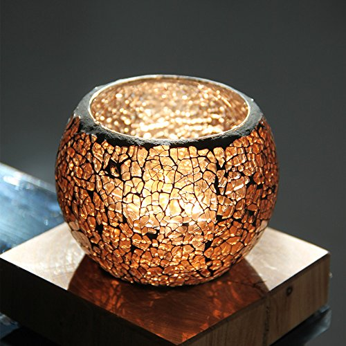 LightInTheBox Votive Candle Holder Crackle Round Ice Flower Glass Shinning Handmade Glass Tealight Candle Holder for Home Decoration Wedding Party Gift One Piece