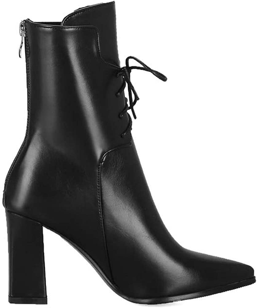 1TO9 Womens Fashion Waterproof Solid Leather Boots MNS03110