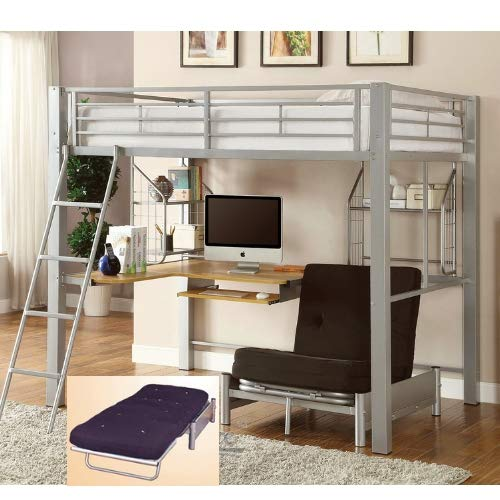 Full Size Loft Bed with L Shape Computer Desk, Includes Convertible Futon Chair Turns Into Small Bed for College Students Small Apartments Loft Studio ()