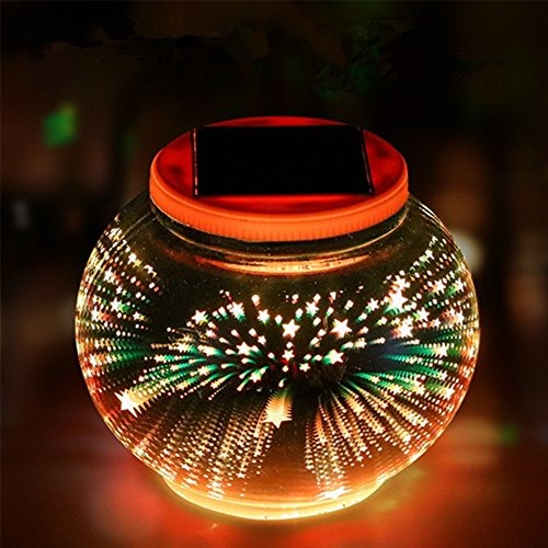 Solar Lights 3D Glass Ball,Businda 3D Pattern Night Light Waterproof LED Color Charging Lamp for Garden Decoration Ideal Gifts,3d Stars by Businda