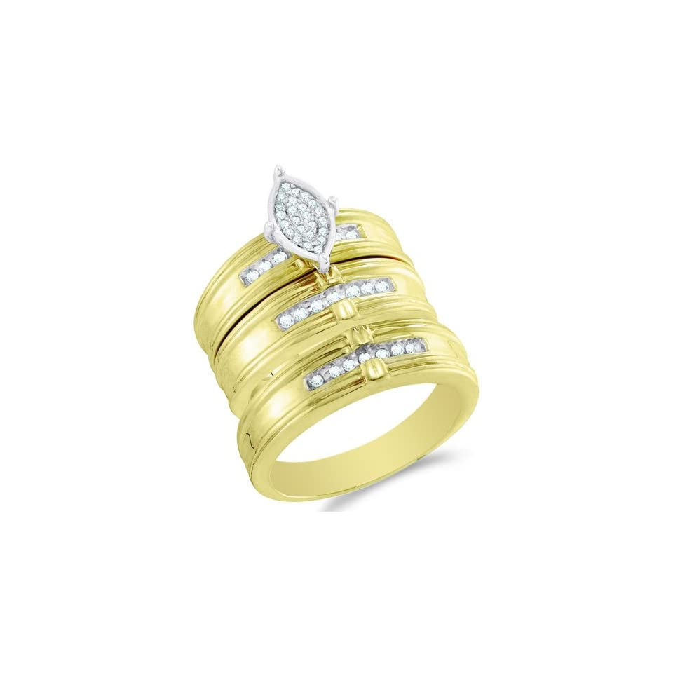 Size 8.5   10K Two Tone Gold Diamond Mens and Ladies His & Hers Trio 3 Three Ring Bridal Matching Engagement Wedding Ring Band Set   Marquise Shape Center Setting w/ Micro Pave Set Round Diamonds   (1/4 cttw)   SEE PRODUCT DESCRIPTION TO CHOOSE BOTH SIZE