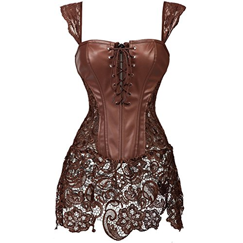 KIWI RATA Women's Punk Rock Faux Leather Buckle-up Corset Bustier Basque with G-String, Brown, Medium]()