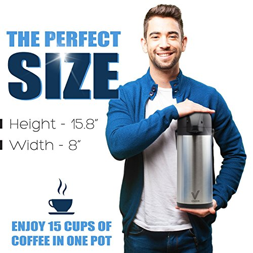 Airpot Coffee Carafe - Thermal Beverage Dispenser (102 oz.) By Vondior. Insulated Stainless Steel Coffe Thermos Urn For Hot/Cold Water, Pump Action Airpot, Party Chocolate Drink by Vondior (Image #6)