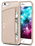iPhone 6 Plus Case, SAMONPOW Faux Leather Ultra Slim iPhone 6 Plus Wallet Case Credit Card Holder Dual Layers Carrying Case Protective Shell for iPhone 6 Plus, iPhone 6s Plus 5.5 Inch - Beige