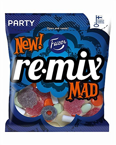 Fazer Remix Mad - Mix of Liquorice, Salmiac, Chocolate, Fruity & Sour Wine Gums Candy - Sweets - Party Bag - 350g