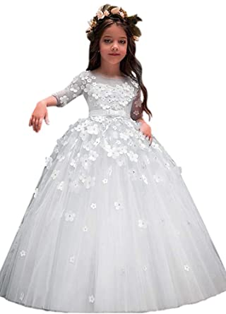 bcc6f38df6b7 Amazon.com: XJLY Girl's Half Sleeves First Commuion Flower Girl Dresses  with Belt Handmade Flowers Pageant Dress: Clothing