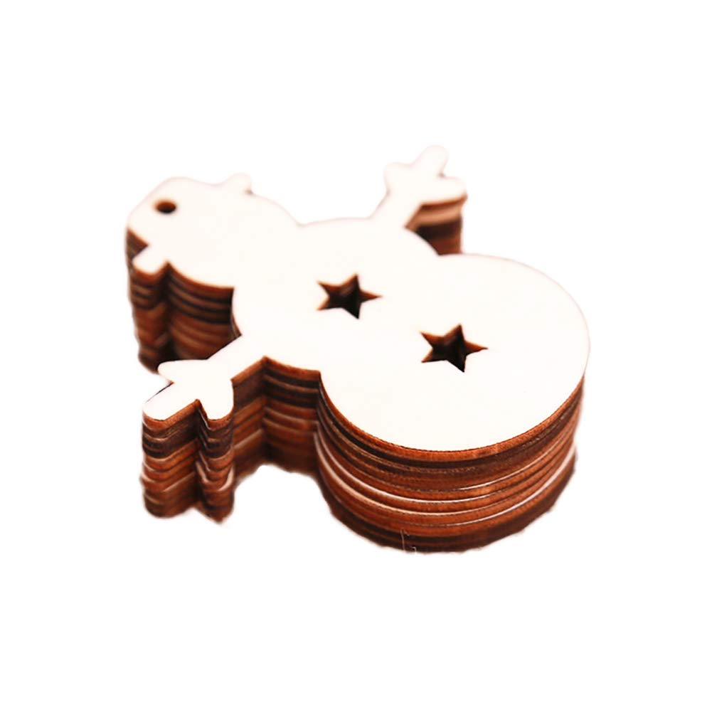 Cotowin 10 Pcs/Pack Snowman Wooden Pendants Ornaments Decoration Snowman for Hangers Card Making