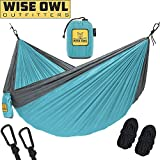 wwww Hammock for Camping - Single & Double Hammocks Gear For The Outdoors Backpacking Survival or Travel-DO Blue & Grey-DoubleOwl