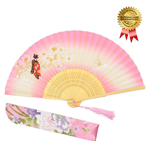 Hand Fan OMyTea Women Folding Hand Held Silk Fan - With a Fabric Sleeve for Protection for Gifts - Chinese / Japanese Vintage Retro Style (Pink)