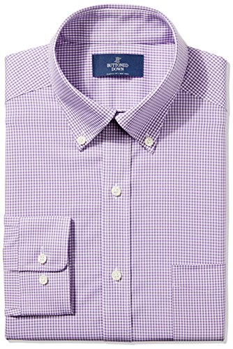 Buttoned Down Men's Classic Fit Button-Collar Non-Iron Dress Shirt, Purple Small Gingham, 16.5'' Neck 36'' Sleeve by Buttoned Down