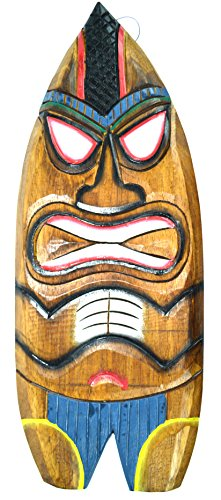 Hand Carved BEACH DUDE Surfboard Wooden Wall Hanging Art Sign Tiki Bar Mask Carved Tiki Surfboard