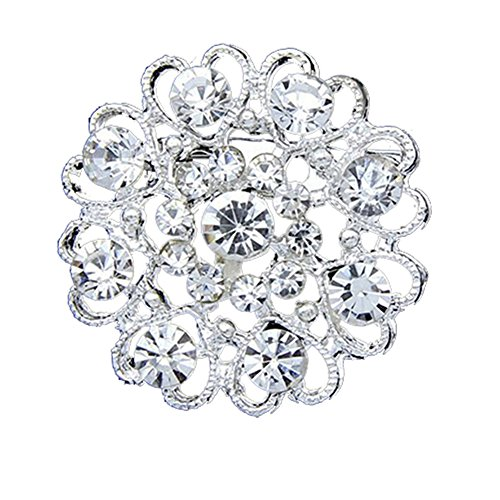dds5391 Rhinestone Crystal Brooch Hollow Out Collar Pin Silver Plated Flower Jewelry - Transparent Silver Transparent Coat