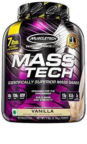 MuscleTech Mass Tech, Scientifically Superior Weight Gain Formula, Vanilla, 7 lbs - Powder Protein Mega